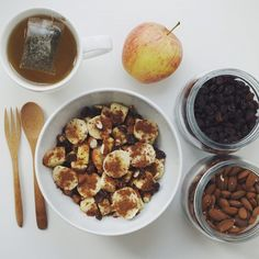 Perfect fall snack: apples and banana mixed with honey, cinnamon, raisins, almonds and dates   green tea  #Padgram