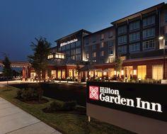 Hilton Garden Inn Boston Logan Airport Hotel, MA   Hotel Exterior At Night  With Sign