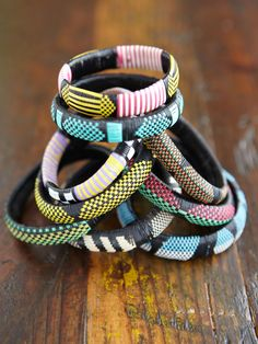 woven bracelets. They make these in Ghana.