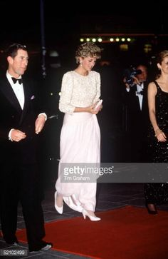 DECEMBER 07: Prince Charles And Princess Diana Arriving At The Royal Variety…