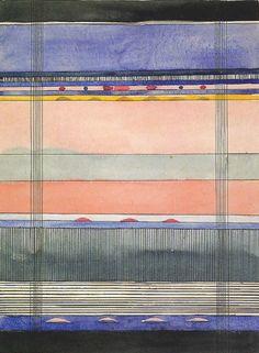 A beautiful hand painted stripe by the Bauhaus textile artistGunta Stölzl.