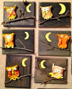 DIY a Owl on a Panel. You need a piece of wood or canvas panel. Some Twigs and a piece of Clay. Make a Clay Circle Fold two sides to form the Owl's body paint the Owl glue everything onto panel Herfst kinder knutsel; DIY een U Clay Owl, Autumn Crafts, Autumn Art, First Grade Art, Owl Crafts, Wood Painting Art, Owl Art, Art Classroom, Art Plastique