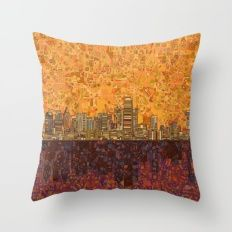 dallas city skyline Throw Pillow