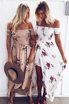 Boho Off shoulder Beach Dresses Floral Print Chiffon Maxi