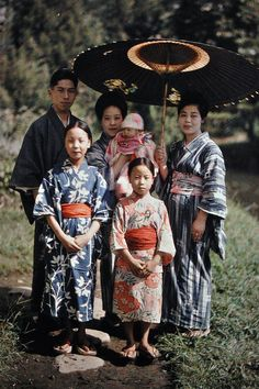 Catholic Japanese Imafuku family celebrating the third month of the baby in Matsumoto, Nagano prefecture, Japan, 1926, photograph by Roger Dumas.