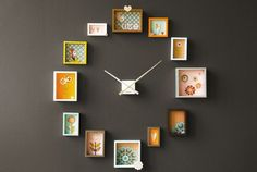 The Passe Partout Clock comes with 12 individual frames that you customize by filling each of them with photographs, drawings, postcards, comics, small toys, wallpaper, dried flowers, beads or whatever you can come up with. You can also arrange the frames around the clock's hand piece in any position you want. This way you have a totally unique clock decorating your wall.