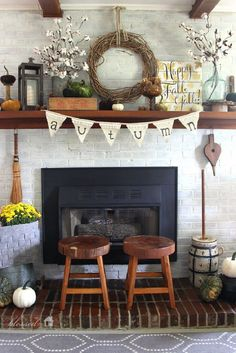 Fall Fireplace Decor with Pretty Cotton Stems and Fabric Textures Mixture - A Cozy Fall Fireplace Decor Idea to Steal Right Now