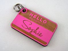 Wooden Dog Tag  Hand Painted Pet ID Tag  Cat Collar by Cropscotch, $16.49