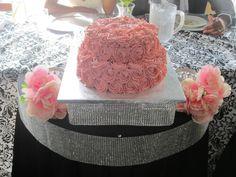 2 tier Blush Pink Swirl Roses Buttercream Wedding Cake