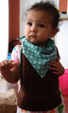 Handkerchief bibs made from a hankie and a washcloth. Cheap and cute.