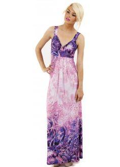 Purple Fantasy Floral Print Maxi Dress