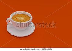3d rendering of coffee cup on orange background
