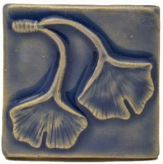 "Double Ginkgo Leaf 3""x3"" Handmade Ceramic Art Tile"