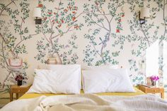 wallpaper in a paris bedroom