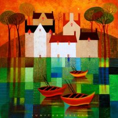 Sunita khedekar Scrapbooking Image, Color Art Lessons, Abstract City, Cottage Art, Contemporary Abstract Art, Naive Art, Fantastic Art, Indian Art, Landscape Art
