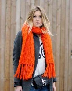 orange knitted scarf