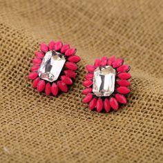 Cute Yellow Artificial Gemstones Stud Earrings $7.98