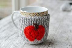 Apple Grey Mug Hug Cup Cozy Hand Knitted £4.99