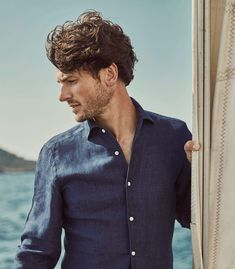 Portofino Shirt, Mother Of Pearl Buttons, Midnight Blue, Classic Looks, Perfect Fit, Navy Blue, Men Sweater, Slim, Pure Products