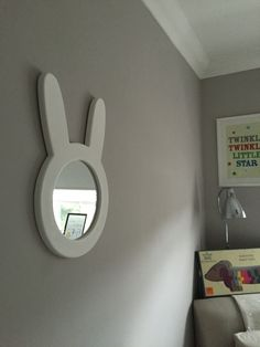 Bunny mirror for baby nursery  Cox&cox paint Dulux perfectly taupe