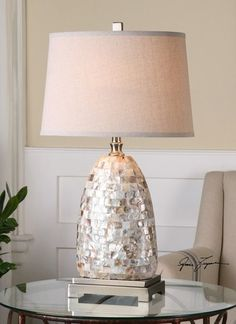 """Capurso Capiz Shell Table Lamp, 26505 Uttermost Lamps - Large Selection, High Style, Discount Prices at FineHomeLamps.com """" Free Shipping."""