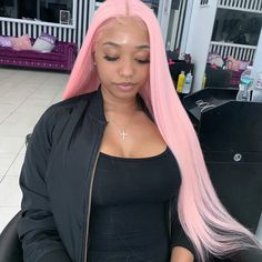 Fashion Star, Curly Hair Styles, Natural Hair Styles, Colored Wigs, Colored Hair, Straight Lace Front Wigs, Front Lace, Straight Hair, Pink Wig
