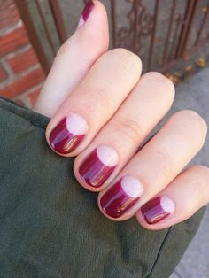 Gel nail art NYC 033 - Half moon wine color deep french | (example: Themes Hive)