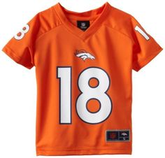 NFL Denver Broncos Peyton Manning 8-20 Youth Player Replica Jersey, Orange, Large, Orange by Reebok. $39.99. Official NFL Team Apparel - This is the new updated 2012 Performance Youth Team Apparel Jersey.  This jersey has been modified to have a better fit and feel with its dry hand touch, unlike the previous yeas shiny mesh version!