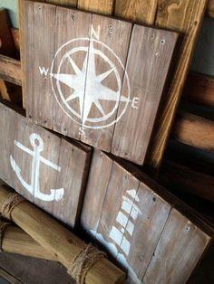 Living Room: Rustic Nautical Art Set of 3 Nautical Bedroom, Nautical Bathrooms, Nautical Home, Nautical Signs, Vintage Nautical Bathroom, Bathroom Beach, Nautical Wall Decor, Nautical Style, Bathroom Rugs