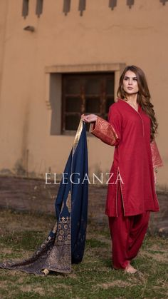 Maroon suit with Navy Blue Shawl Price: (Stitched) (unstitch) . Fancy Dress Design, Stylish Dress Designs, Stylish Dresses, Simple Dresses, Casual Dresses, Fashion Dresses, Pakistani Formal Dresses, Pakistani Dress Design, Pakistani Outfits
