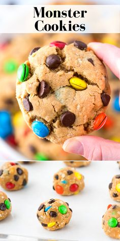 Monster Cookies have oatmeal, peanut butter, chocolate chips, and m&ms! This no chill soft monster cookie recipe includes directions on how to freeze the cookie dough and how to make gluten free monster cookies. Done in 30 minutes! Soft Monster Cookie Recipe, Soft Monster Cookies, M&m Cookie Recipe, Sugar Cookies Recipe, Cookie Recipes From Scratch, Delicious Cookie Recipes, Easy Cookie Recipes, Dessert Recipes, Yummy Food