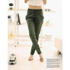 Pantalón Casual Yucheer Color Puro para Mujer-Caqui Pantalón A La Cintura 7ca5e8c3a3198