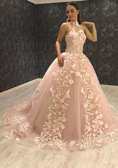 Prom Dress For Teens, Ball Gown Halter Sweep Train Pink Tulle Prom Dress with Appliques, cheap prom dresses, beautiful dresses for prom. Best prom gowns online to make you the spotlight for special occasions. Floral Prom Dresses, Tulle Prom Dress, Cheap Prom Dresses, Quinceanera Dresses, Wedding Dresses, Bridesmaid Dresses, Elegant Dresses, Homecoming Dresses, Bridal Gowns