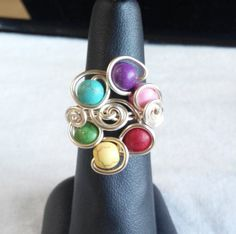 silver ring with dyed howlite. made in Ireland. by terramor on Etsy Wire Rings, Ireland, Silver Rings, Turquoise, Trending Outfits, Unique Jewelry, Handmade Gifts, How To Make, Etsy