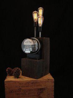 Steampunk, Industrial, Antique Wood Electrical Meter Lamp #734 ...