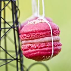 """Macarons """"Tango"""" from Pierre Herme with raspberry, white chocolate, pepper and Parmesan cheese."""