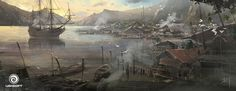 View an image titled 'Village Bay Art' in our Assassin's Creed IV: Black Flag art gallery featuring official character designs, concept art, and promo pictures. High Fantasy, Medieval Fantasy, Fantasy World, Assassins Creed Black Flag, Assassins Creed Series, Robin Hobb, Environment Concept, Environment Design, Arcane Trickster
