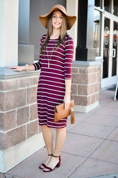 Kady Stripe Midi Dress In Burgundy - My Sisters Closet