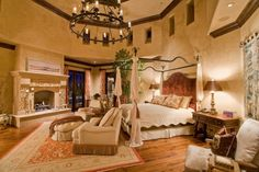 Utimately, this is what I want the master bedroom to look like. Old world,tuscan,mediterranean decor Mediterranean Bedroom, Mediterranean Homes, Mediterranean Architecture, Tuscan Decorating, Interior Decorating, Interior Design, Tuscan Bedroom, Mansion Bedroom, Spanish Style Homes