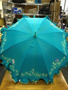 Vintage Blue Parasol Umbrella by Shaw Hand by TalofaVintageVibe