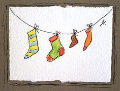 Carte de voeux pour Noël réalisée à partir d'une véritable aquarelle de l'artiste Melinda Blomma