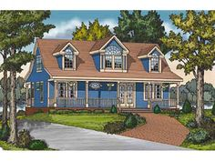 Country Cottage House Plan with 1673 Square Feet and 3 Bedrooms from Dream Home Source | House Plan Code DHSW075925
