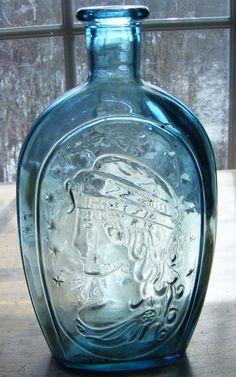 Vintage Aqua Light Blue Glass Bottle Lady Liberty on by parkledge, $18.00