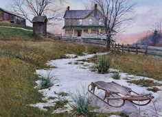 """David Armstrong """"Remembrance of a Childhood"""" oil on board. Board: x on Oct 2016 Watercolor Trees, Watercolor Landscape, Watercolor Paintings, Watercolor Pictures, Watercolor Artists, Christmas Illustration, Illustration Art, Beautiful Artwork, Beautiful Homes"""
