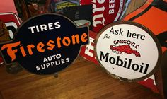 Original Porcelain Lollipop Curb Signs Vintage Gas Pumps, Old Signs, Advertising Signs, Oil And Gas, Gas Station, Vintage Signs, Tin, Porcelain, Neon Signs