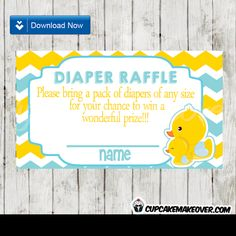 Printable Yellow and Blue Chevron Rubber Duck Baby Shower Diaper Raffle Cards. #cupcakemakeover