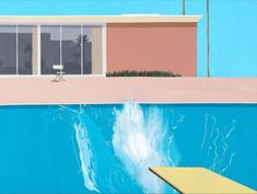 A Bigger Splash is a large pop art painting by British artist David Hockney. It depicts a swimming pool beside a modern house, disturbed by a large splash of water created by an unseen figure who has apparently just jumped in from a diving board. Illustration Arte, Illustration Inspiration, Inspiration Art, Art Inspo, David Hockney Pool, David Hockney Art, Arte Pop, Mam Sp, Gropius Bau