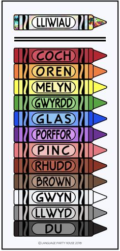 Learn Colors in Irish (Gaeilge) Language with crayon poster. Fun Irish coloring sheet for beginners. Great for kids! Scottish Words, Welsh Words, Scottish Gaelic Phrases, Welsh Phrases, Welsh Language, Irish Gaelic Language, Ireland Language, French Language, Welsh Sayings