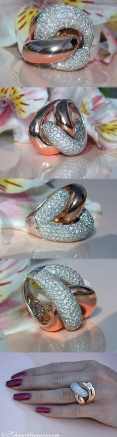Extra large Diamond Ring in Rosegold (4,36 ct. G SI) - www.schmucktraeume.com Like: https://www.facebook.com/Noble-Juwelen-150871984924926/