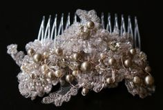 Platinum Swarovski pearl, rose gold wire and crystals in this wired lace head piece by Mosquita www.mosquita.com.au